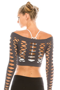 SLASHED CROP DANCE TOP
