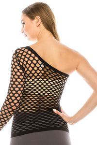 ONE SHOULDER FISHNET TOP