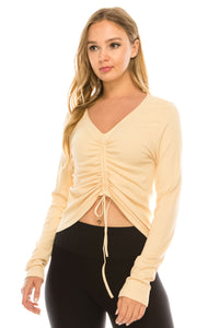 RIBBED DRAWSTRING TOP