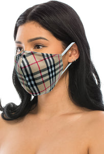 3 PACKS CHECKERED FACE MASKS WITH FILTER