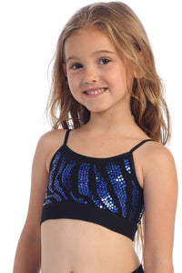 KIDS ZEBRA SEQUIN BANDEAU CAMI TOP