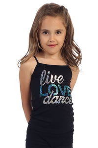 "KIDS ""LIVE LOVE DANCE"" SEQUIN CAMI"