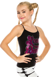 "KIDS ""LOVE DANCE"" SEQUIN CAMI TOP"