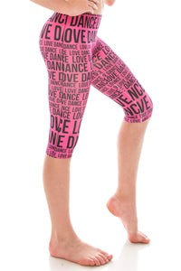 KIDS LOVE DANCE PRINT LEGGINGS