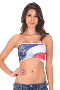 FLAG LACE TUBE TOP