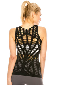 CUT OUT DETAIL SLEEVELESS TANK TOP