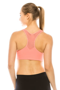 PADDED MESH RACERBACK SPORTS BRA
