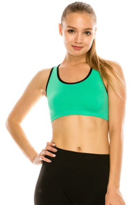 DOUBLE LAYERED STRAPPY SPORTS BRA