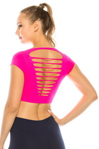 SLASHED CAP SLEEVE CROP TOP