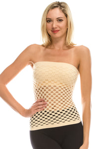FISHNET SHELF BRA TUBE TOP