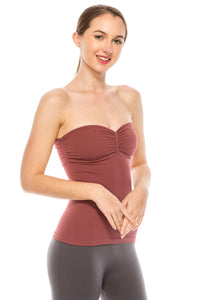 RIBBED RUCHING TUBE TOP