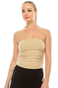 RUCHED CROP TUBE TOP
