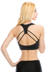 ACID WASH DOUBLE LAYERED RACERBACK SPORTS BRA