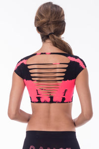 TIE DYED SLASHED CAP SLEEVE CROP TOP