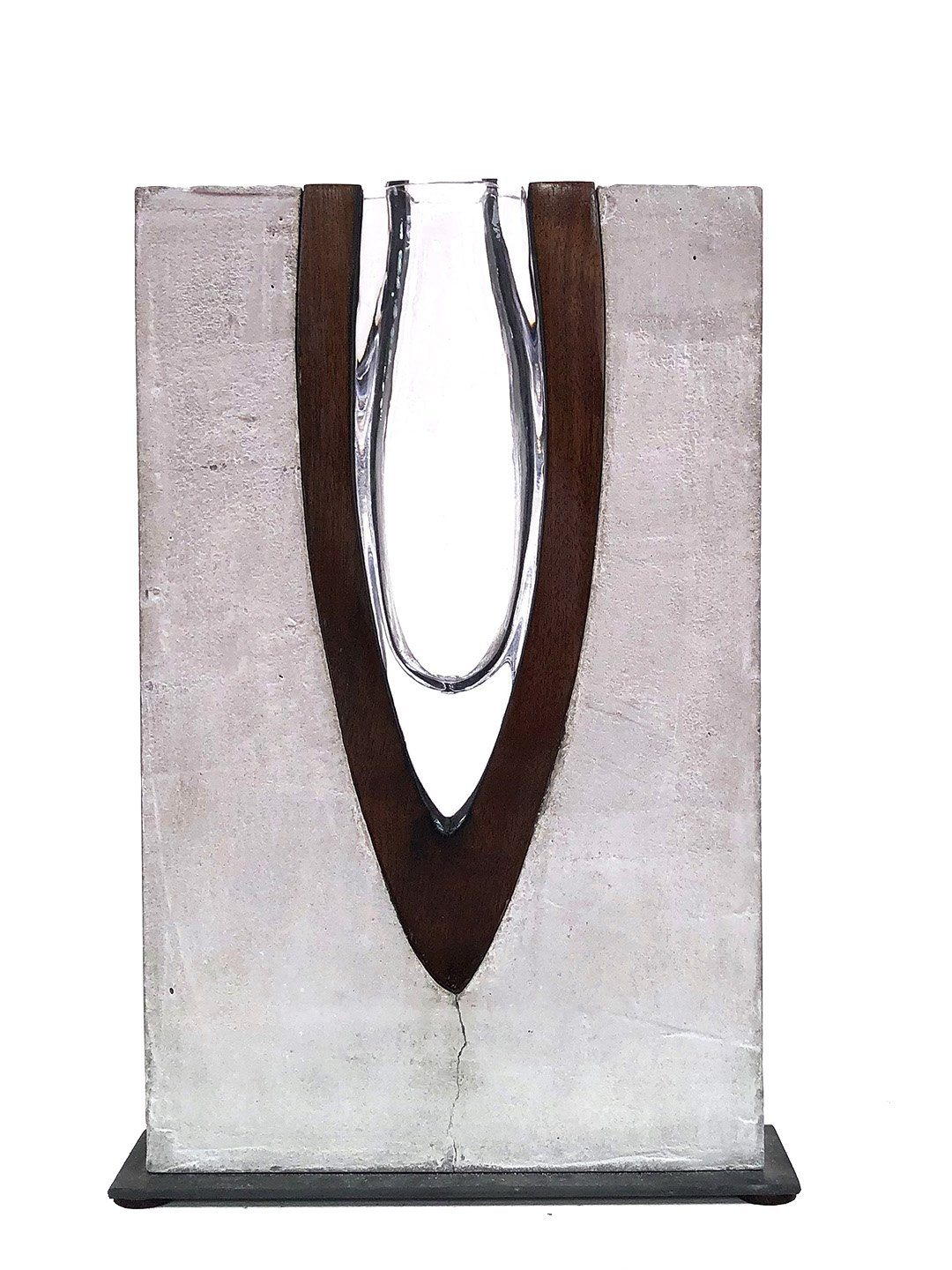 """Aerodynamic"" (Small) Cement, Wood, Handblown Glass and Metal Cement, Wood, Glass, Metal Scott Slagerman Glass"