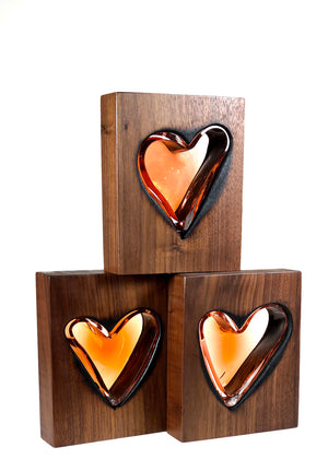 Clean Cut Walnut Wood and Apricot Glass