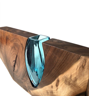"Live Edge Claro Walnut With Handblown Aqua Glass ""Aqua Architecture"" Wood, Glass, Metal Base Scott Slagerman Glass"