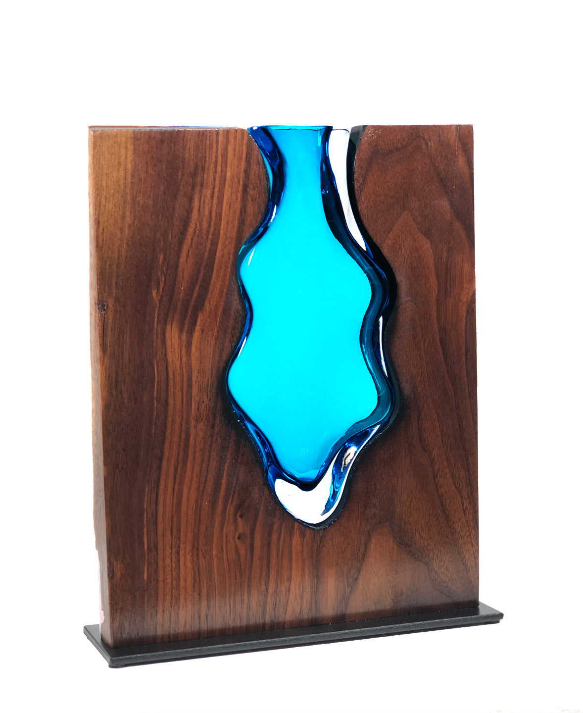 "Walnut Wood with Handblown ""Aqua"" Glass Blackberry"