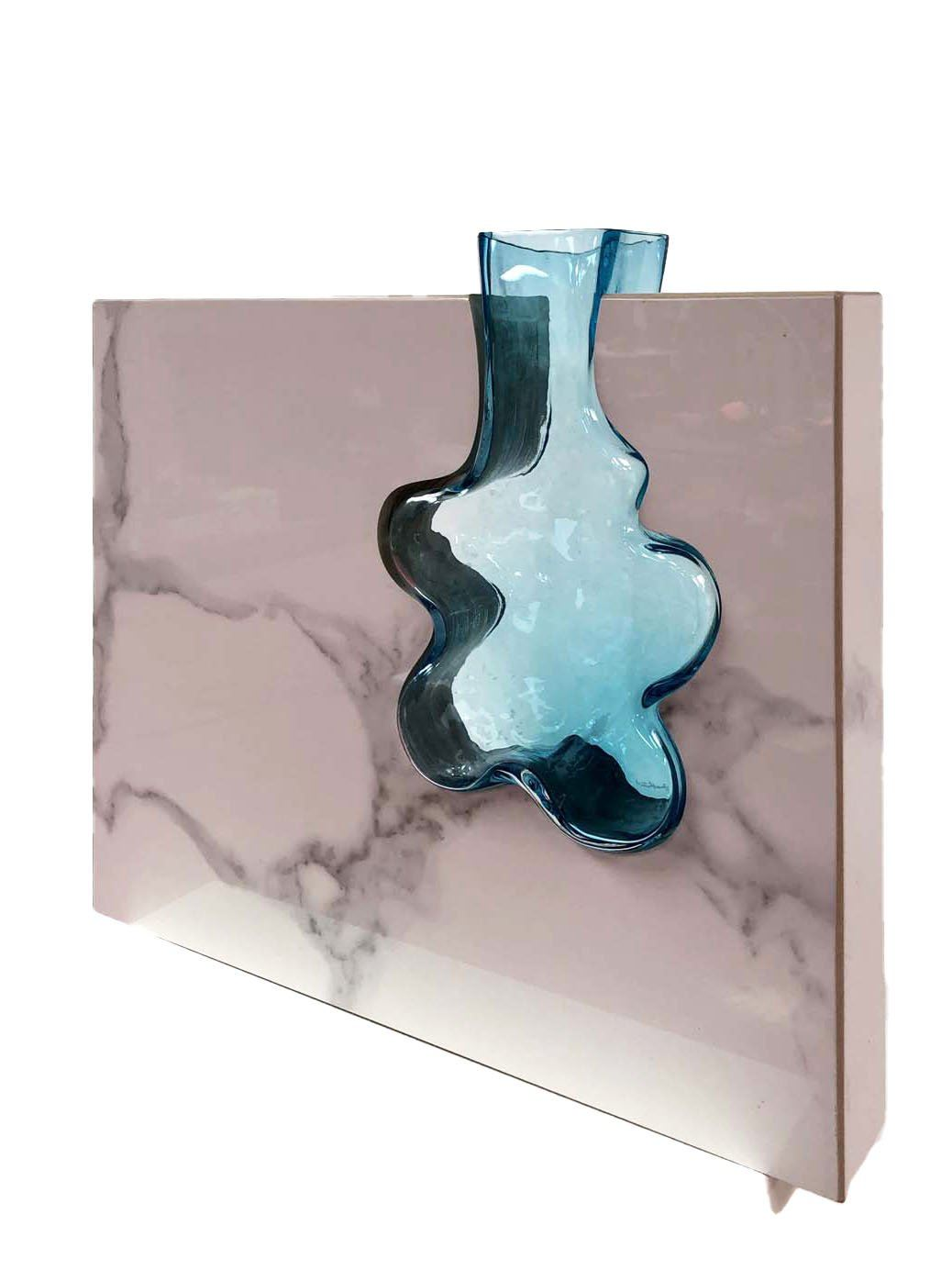 """Aqua Flower"" Handblown Aqua Glass with Porcelain Marble Porcelain Glass Stainless Steel Scott Slagerman Glass"
