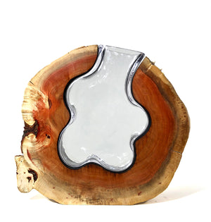 Live Edge Carob Round with Handblown Clear Glass