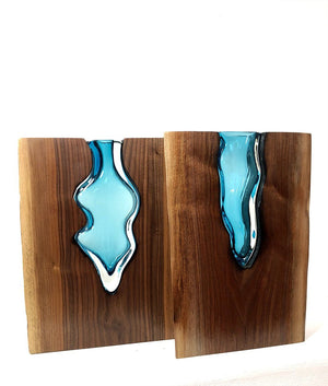 Live Edge Claro Walnut with Handblown Aqua Glass Wood, Glass, Metal Base Scott Slagerman Glass