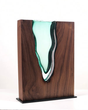 "Clean Cut Walnut Wood with Hand Blown Emerald Glass ""Lake"""