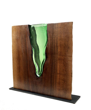 "Emerald Glass ""Lake"" with Walnut Wood Wood, Glass, Metal Base Scott Slagerman Glass"
