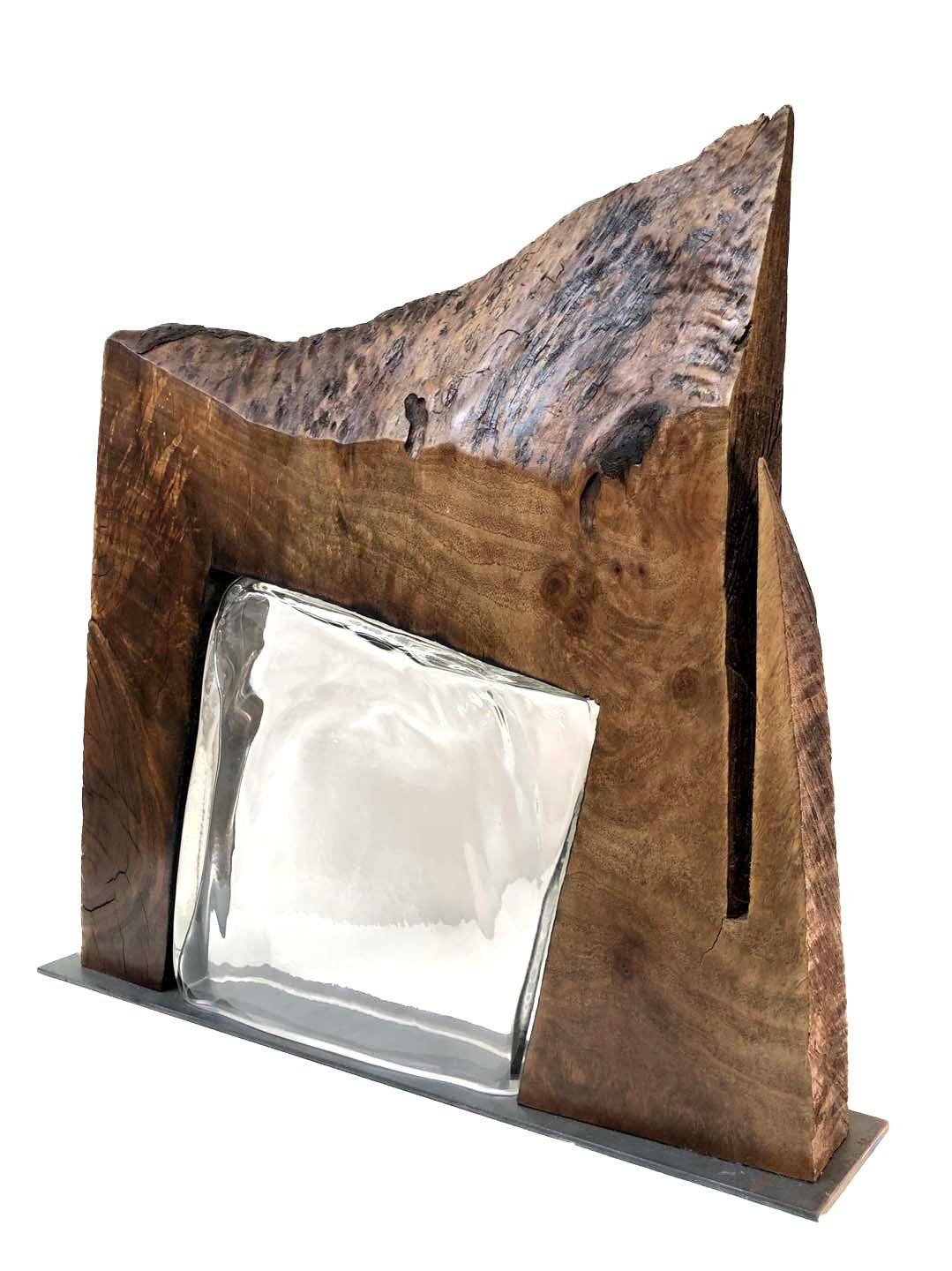 """Intersection"" Live Edge Claro Walnut with Handblown Clear Glass Wood, Glass, Metal Base Scott Slagerman Glass"
