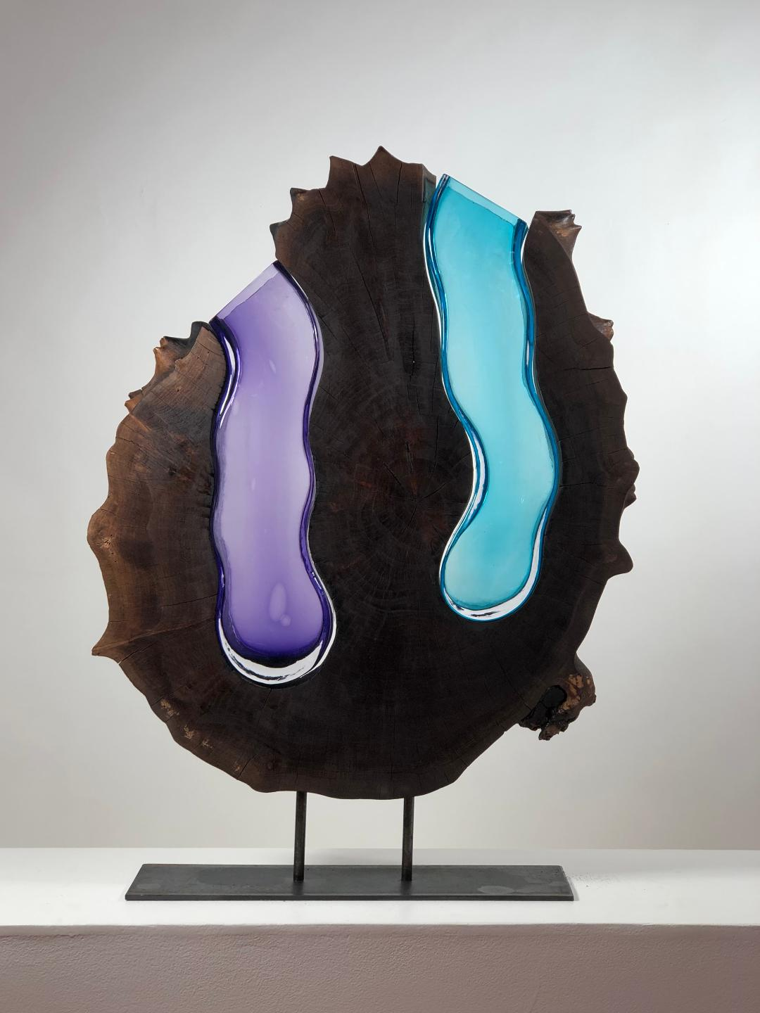 Walnut Round With Handblown Amethyst and Aqua Glass