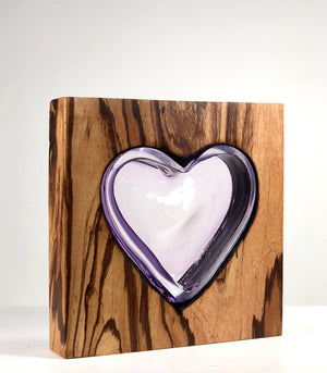 Zebra Wood Heart with Handblown Amethyst Glass