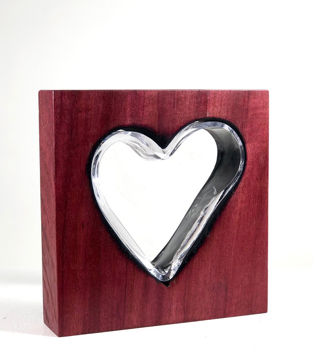 Purple Heart Wood with Handblown Clear Glass