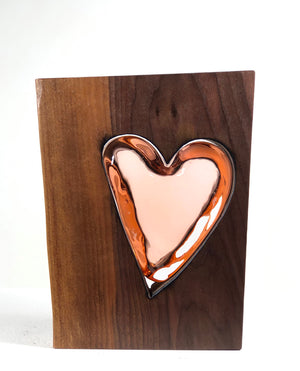 "Live Edge ""Walnut Wood"" and Handblown Apricot Glass"