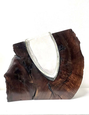 Clear Glass with Walnut Burl Wood Wood, Glass Scott Slagerman Glass