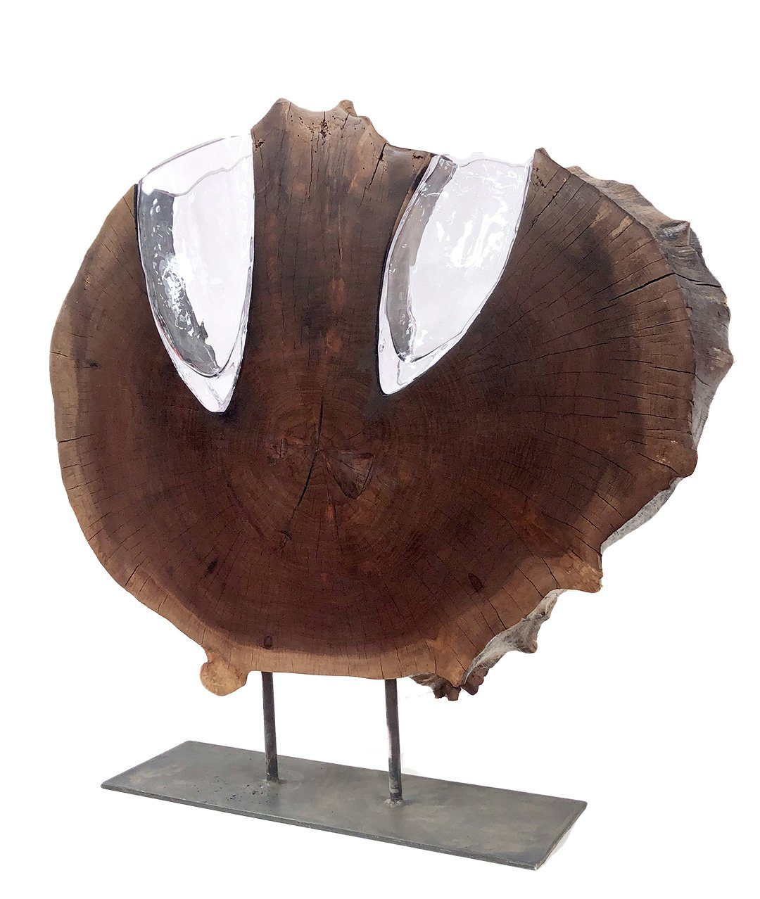 "Walnut Round with Two Handblown Clear Vases ""Slice"" Wood, Glass, Metal Base Scott Slagerman Glass"