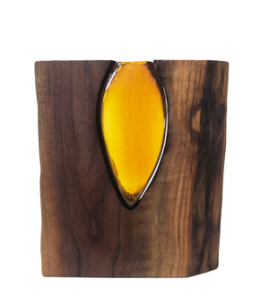 Handblown Topaz Glass with Live Edge Walnut
