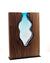 "Clean Cut Walnut Wood with Handblown Aqua Glass ""Amphora"""
