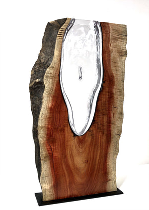 Live Edge Carob Wood with Handblown Clear Glass Wood, Glass, Metal Base Scott Slagerman Glass