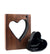 """Walnut Wood"" with Handblown Black Glass Heart"