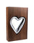 Tall Walnut Wood and Handblown Clear Glass Heart