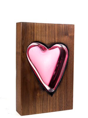 Tall Walnut with Handblown Ruby Glass Heart