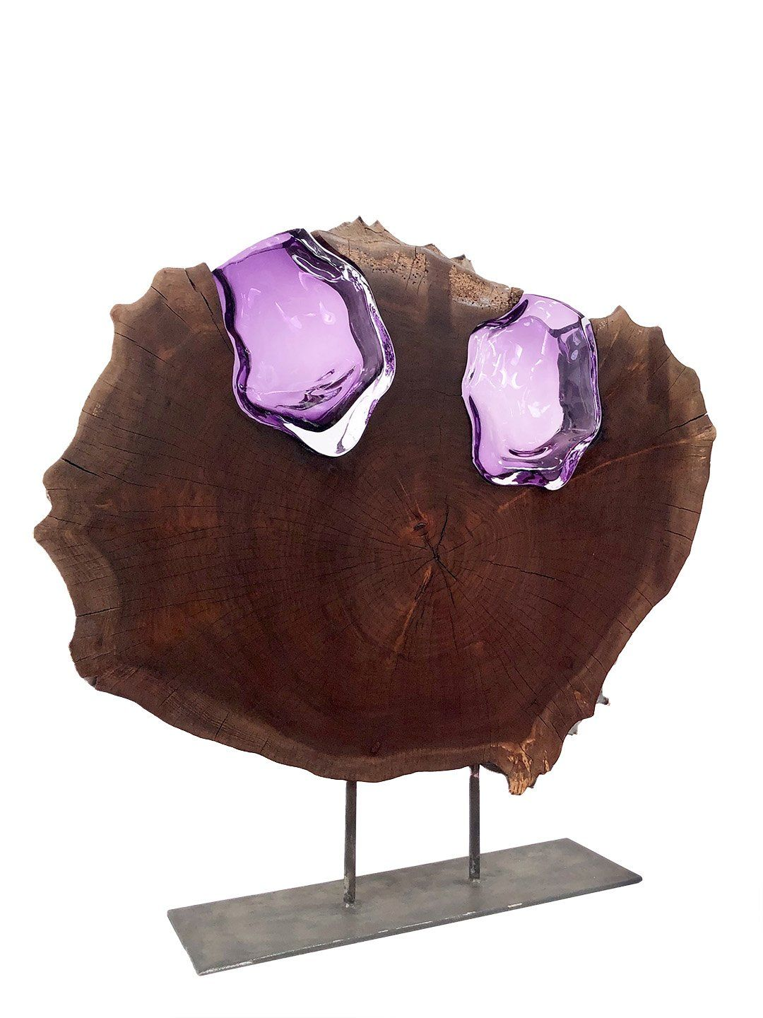 Claro Walnut Round with Two Amethyst Glass Flowers Wood, Glass, Metal Base Scott Slagerman Glass