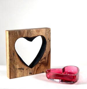 Zebra Wood Heart with Handblown Ruby Glass