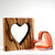 Zebra Wood Heart with Handblown Apricot Glass