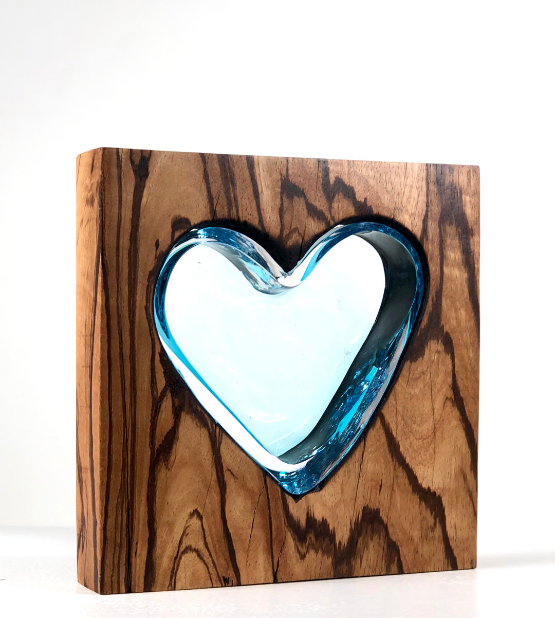 Zebra Wood Heart with Handblown Aqua Glass