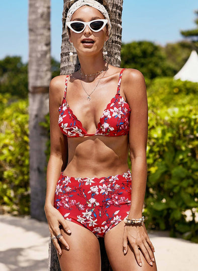 2021 Women's Valentine's Day  Scalloped Trim Printed Sling Two-piece Swimsuit