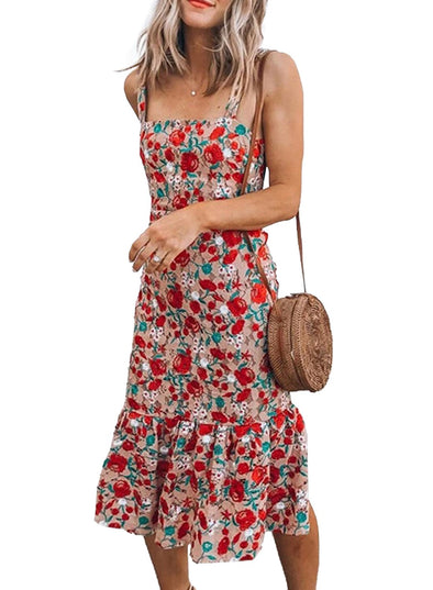 2021 Women's Summer Sleeveless Boat Neck Casual Cotton and Linen Beho Midi Dress