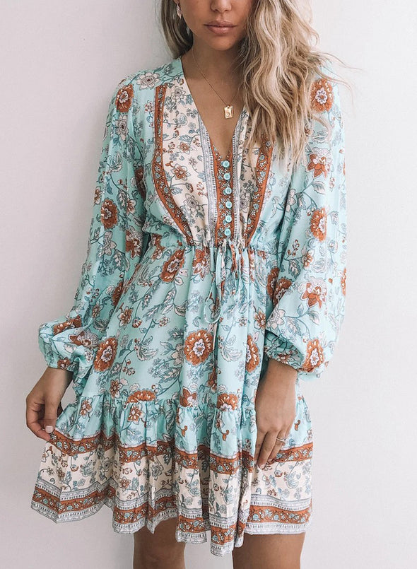 Green Floral Aqua Print Daily Dress LC223299-9