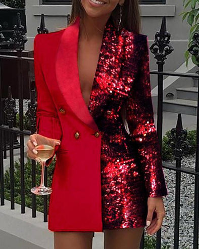 Red Colorblock Sequins Long Sleeve Blazer Dress LC223491-3