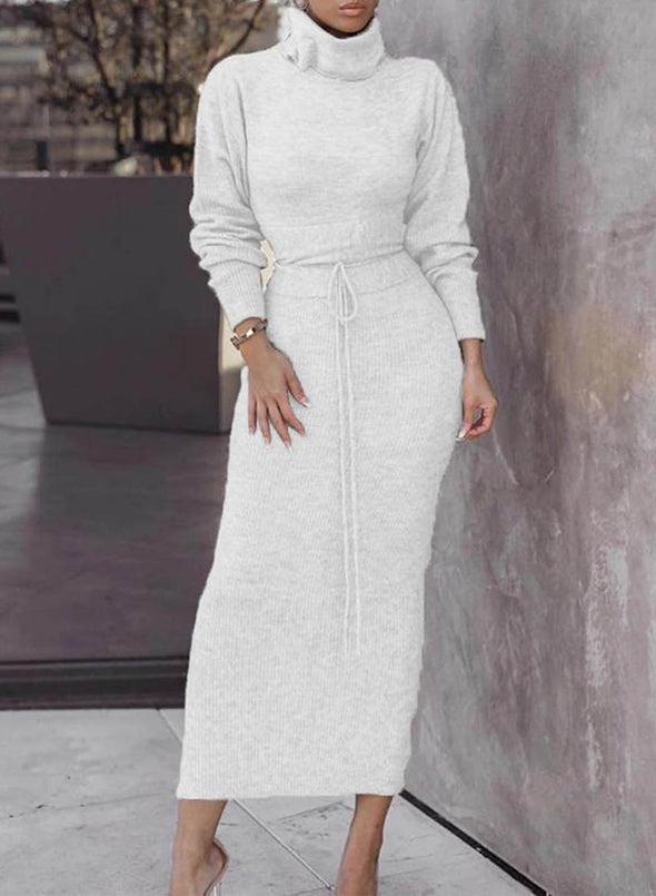 White Women's Dresses Solid Color High Neck Knot Long Sleeve Bodycon Maxi Dress LC613412-1