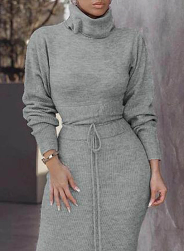 Gray Women's Dresses Solid Color High Neck Knot Long Sleeve Bodycon Maxi Dress LC613412-11